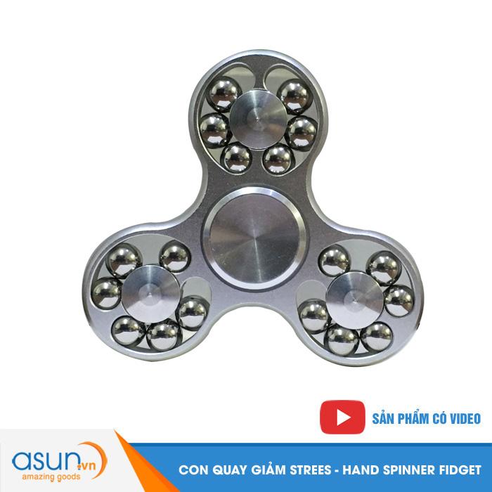 Con Quay Giảm Stress 3 Cánh Nhôm Có Bi 3 Cạnh Bạc - Fidget Spinner