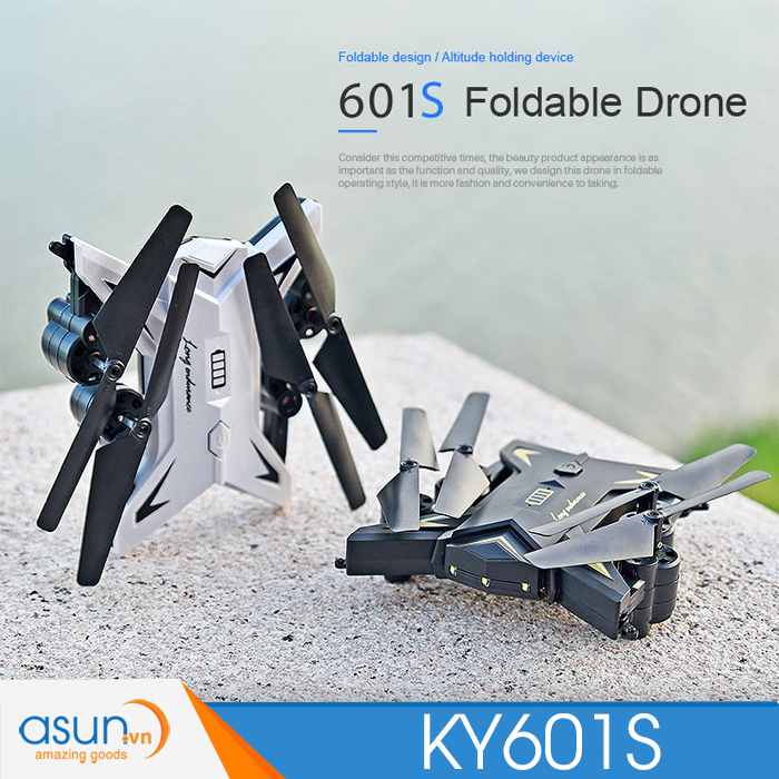 Máy Bay Điều Khiển Từ Xa KY601S Wifi Camera 1080P Tự Giữ Độ Cao 20 phút Đen