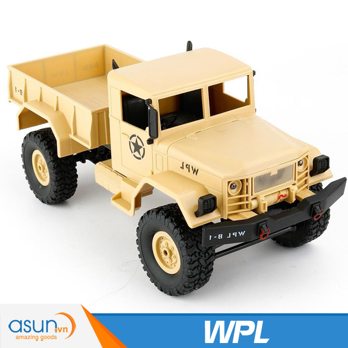 Xe Tải Quân Sự Mỹ Điều Khiển Từ Xa Military WPL 4WD-Màu Vàng quân sư
